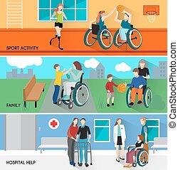 niepełnosprawny, poziomy, komplet, chorągwie, ludzie