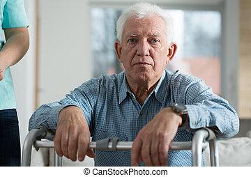 niepełnosprawny, senior, zmartwiony, człowiek