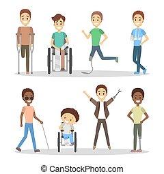 niepełnosprawny, set., ludzie