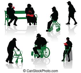 niepełnosprawny, stary zaludniają