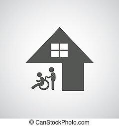 niepełnosprawny, troska, znak