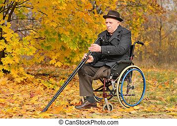 niepełnosprawny, wheelchair, jego, starszy człowiek