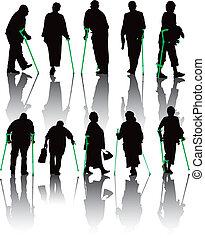 niepełnosprawny, wshadows, zbiór, ludzie