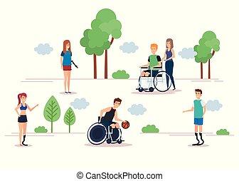niepełnosprawny, wystawiany zamiar, ludzie