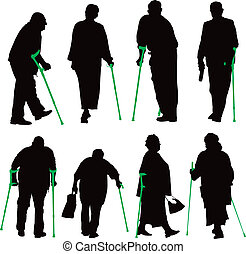 niepełnosprawny, zbiór, ludzie