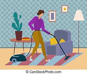 nieprzyjemne zadania, kobieta, próżnie, house., rodzina, czyści, dom, dywan
