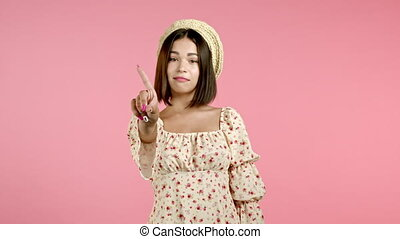 nier, doigt, négation, portrait, rose, faire, femme dame, arrière-plan., signe, gesture., rejeter, désapprouver, beau, non, ne pas être d'accord