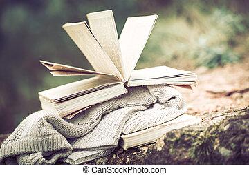 nieruchome życie, książka, tło, natura