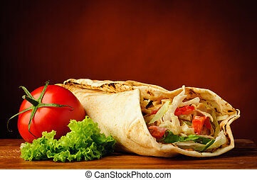 nieruchome życie, z, shawarma