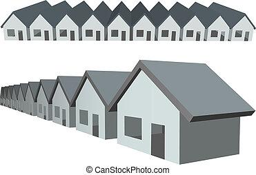 nieruchomość, condos, domy, zbudowanie, hałas