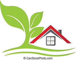 nieruchomość, dom, z, drzewo, logo