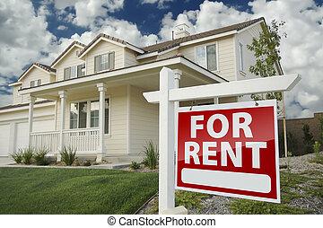 nieruchomość, dom, znak, dzierżawa, przód