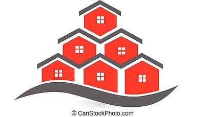 nieruchomość, domy, logo