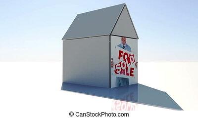 nieruchomość, i, przeniesienie dom, montaż