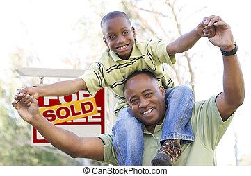 nieruchomość, ojciec, znak, przód, syn