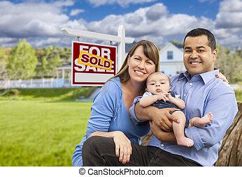 nieruchomość, rodzina, dom, sprzedany, młody, znak, przód