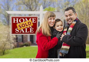 nieruchomość, rodzina, dom, sprzedany znak, przód
