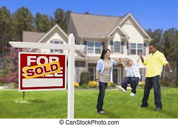 nieruchomość, rodzina, znak, dom, sprzedany, hispanic, przód