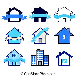 nieruchomość, symbol, dom, logos