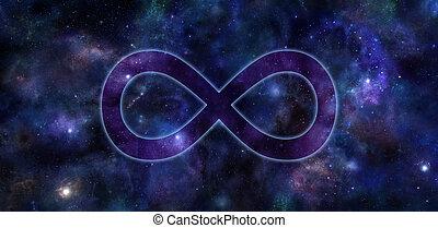 nieskończoność, symbol, chorągiew, głęboki, przestrzeń