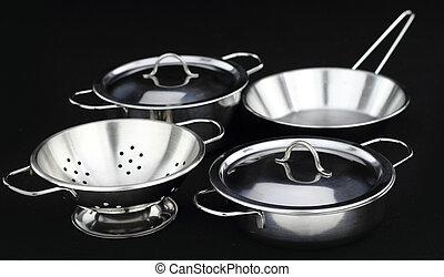 niesplamiony, naczynia kuchenne, stal, grupa