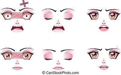 nieszczęśliwy, samicza twarz