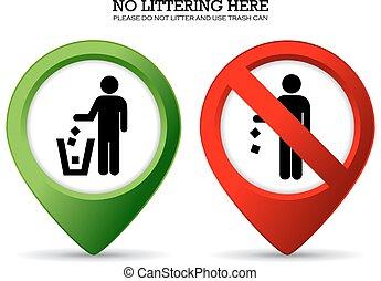 niet, afval, meldingsbord