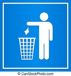 niet, blauwe , afval, meldingsbord