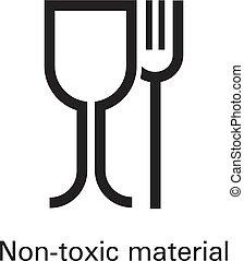 niet, eenvoudig, materiaal, stijl, plastic, vergiftig, pictogram