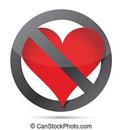 niet, hart, illustratie
