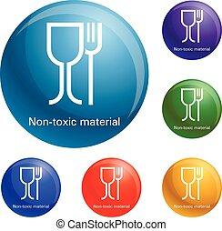 niet, set, iconen, materiaal, plastic, vector, vergiftig
