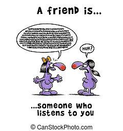 niet, vriend, vrouw, het luisteren, haar