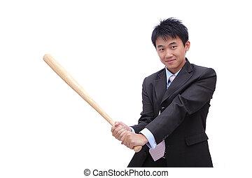 nietoperz, baseball, handlowy, dzierżawa, człowiek
