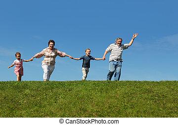 nietos, abuelos, su, corriente, colina, manos de valor en...