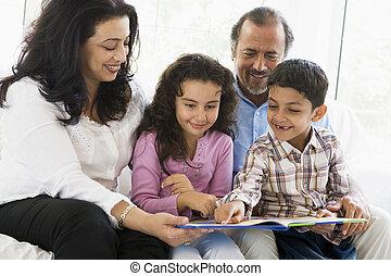 nietos, su, pareja, oriental, medio, lectura
