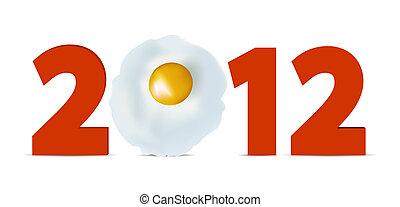 nieuw, 2012, concept, ei, jaar