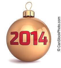 nieuw, 2014, jaar, bauble, kerstmis bal