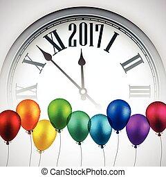 nieuw, 2017, achtergrond, clock., jaar