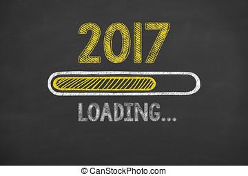 nieuw, 2017, inlading, chalkboard, jaar