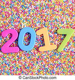 nieuw, 2017, vrolijke , achtergrond, jaar