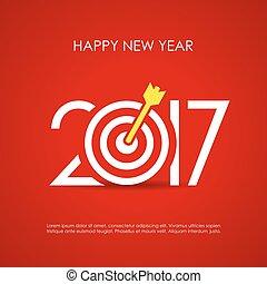 nieuw, 2017, vrolijke , kaart, jaar