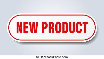 nieuw, afgerond, teken., product, sticker., rood