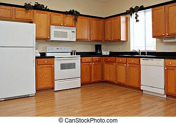 nieuw, afgewerkt, keuken