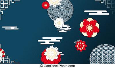 nieuw, animatie, bloemen, jaar, chinees