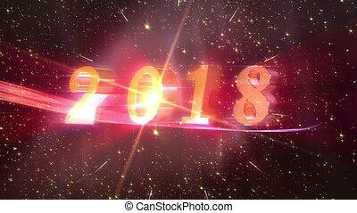nieuw, animatie, jaar, 2018, opening
