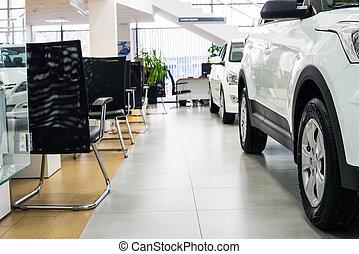 nieuw, auto's, op, handelaar, toonzaal