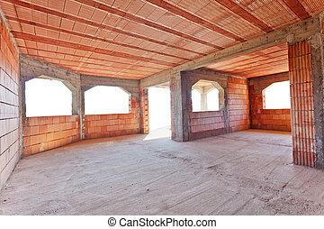 nieuw, baksteen, bouwsector, interieur