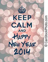 nieuw, bewaren, kalm, jaar, 2014, vrolijke