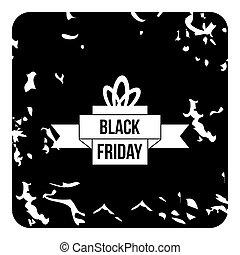nieuw, black , vrijdag, pictogram, grunge, stijl