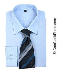 nieuw, blauw hemd, en, vastknopen, vrijstaand, op wit